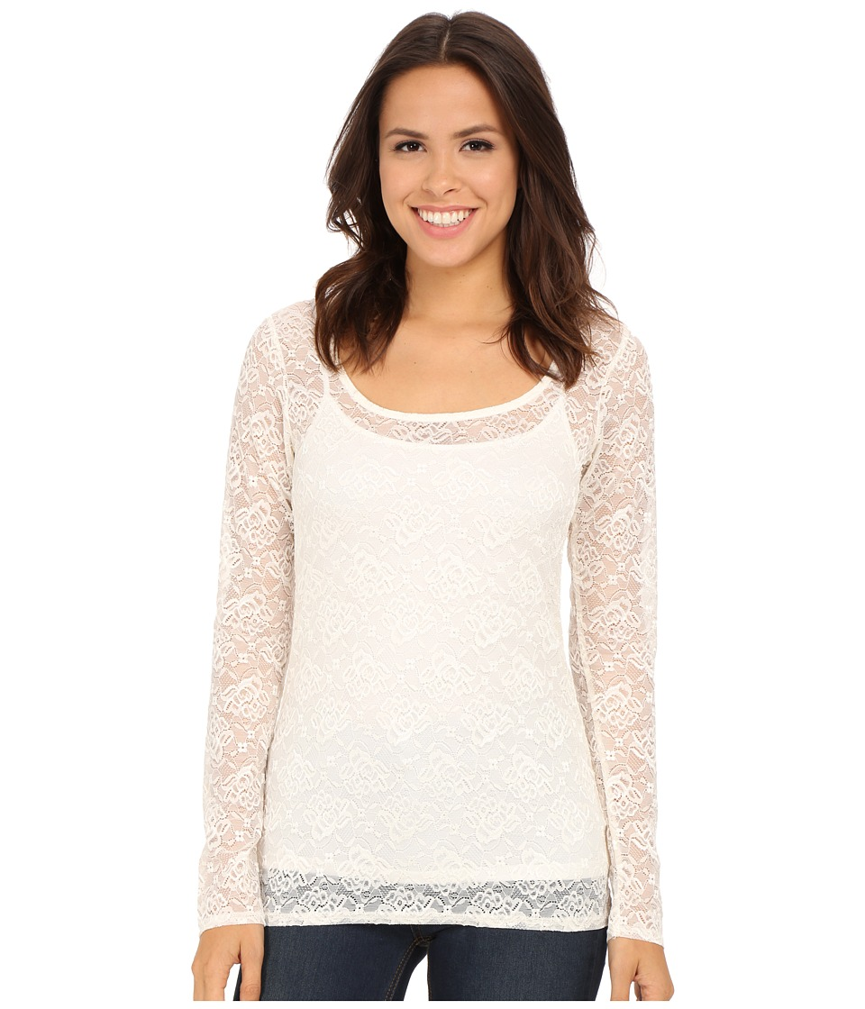 Roper - 0065 Allover Stretch Lace Long Sleeve Top (White) Women's Long Sleeve Button Up