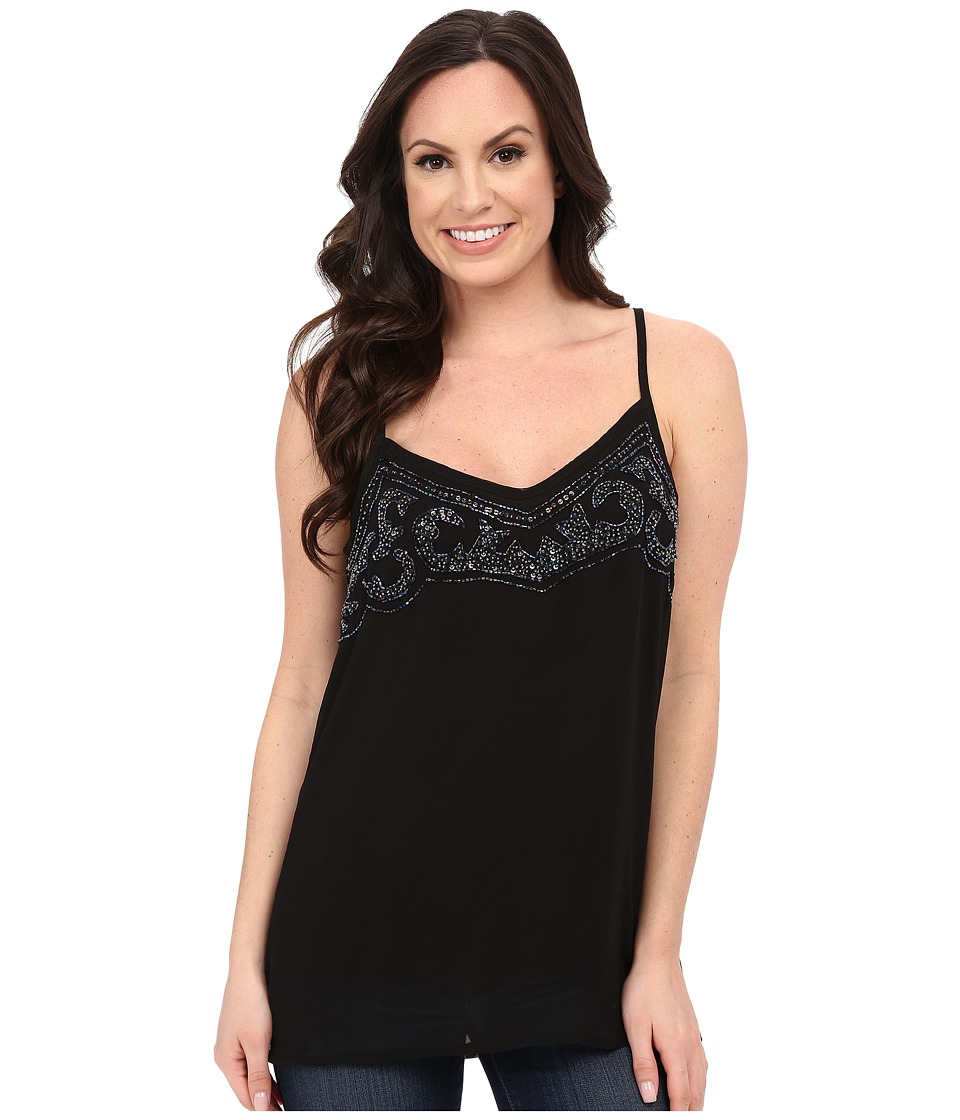 Roper - 0138 Poly Georgette Tank Top (Black) Women's Sleeveless