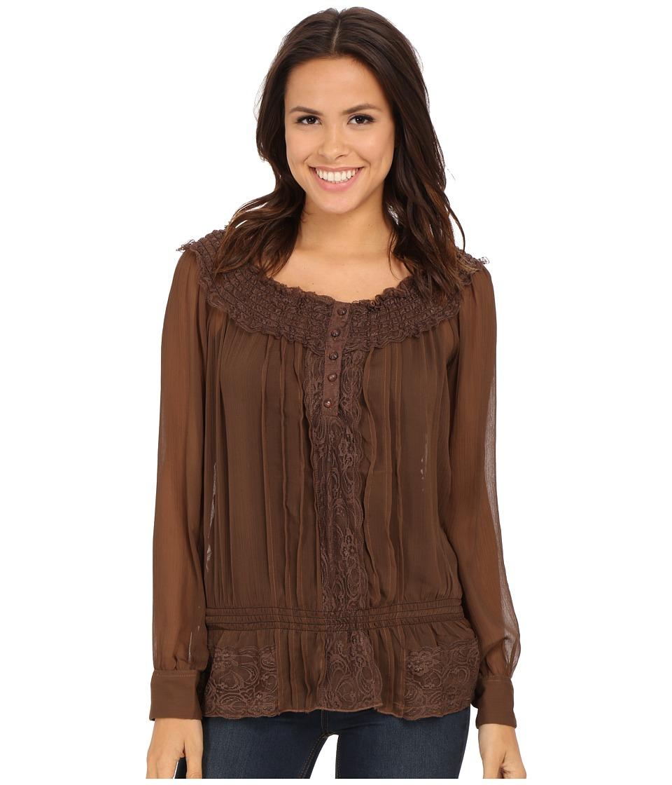 Roper - 0136 Poly Chiffon Peasant Blouse (Brown) Women's Blouse