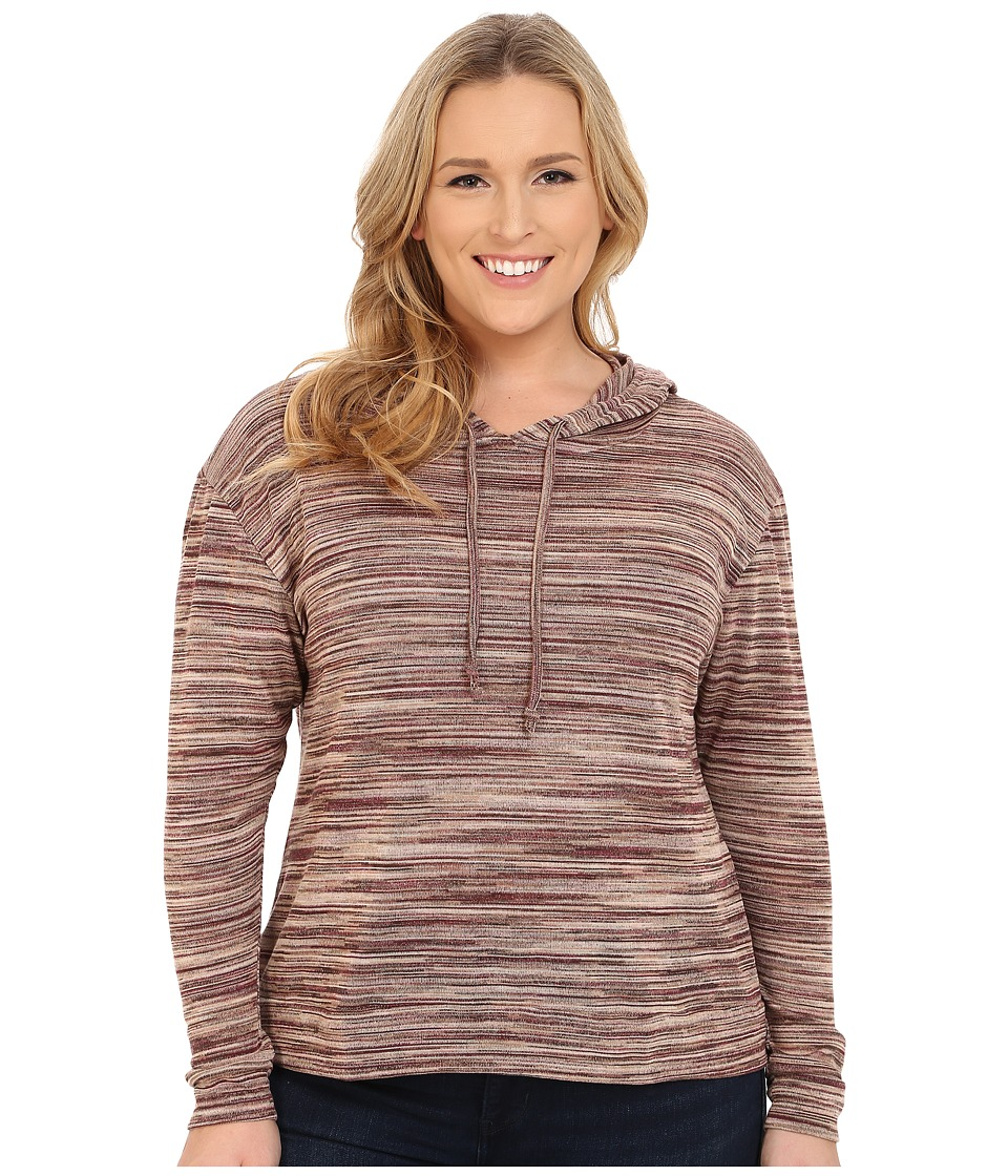 Roper - Plus Size 0156 Marbled Sweater Jersey Hooded Top (Brown) Women's Sweatshirt