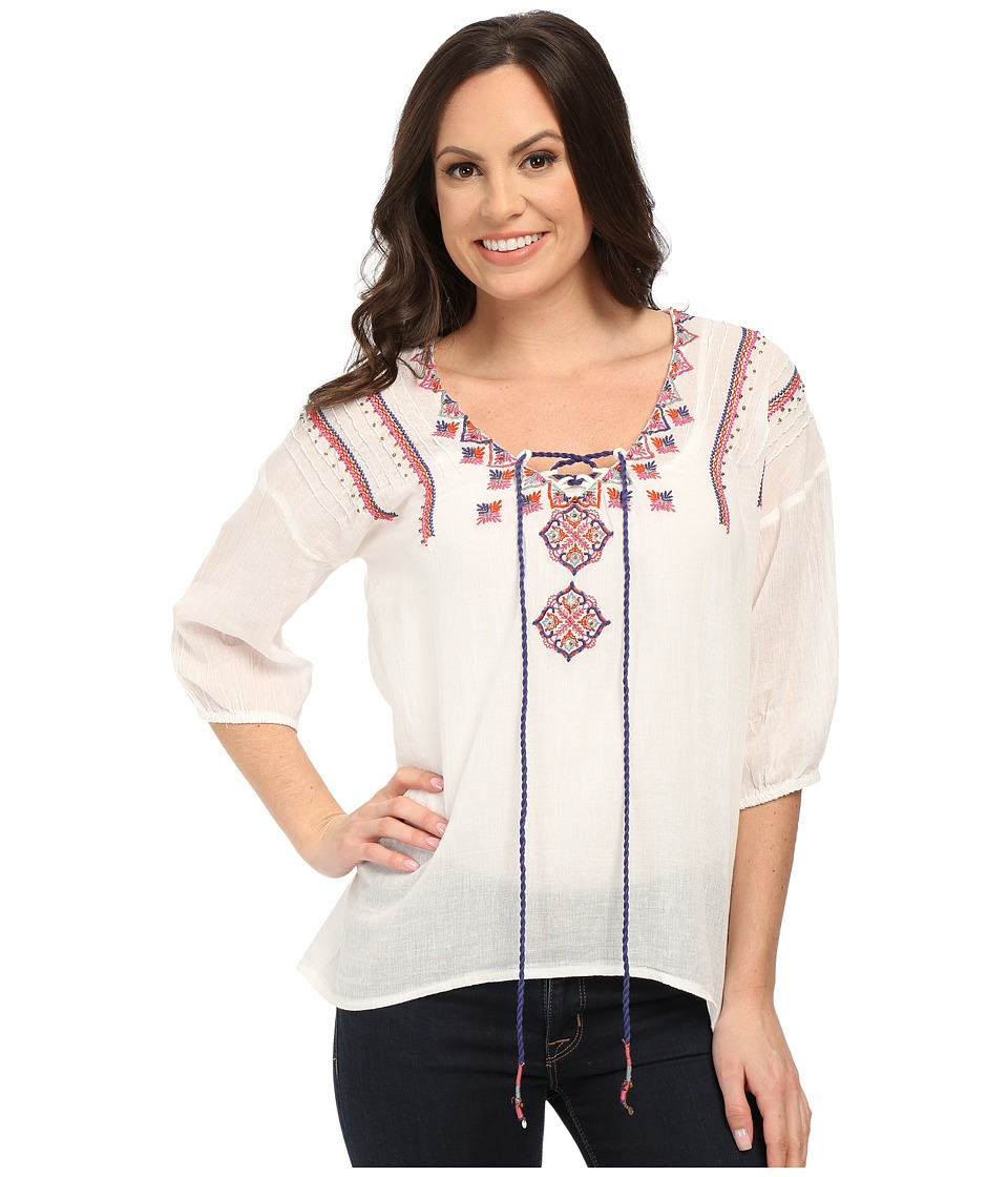 Roper - 0285 Cotton Twill Peasant Blouse (White) Women's Blouse plus size,  plus size fashion plus size appare