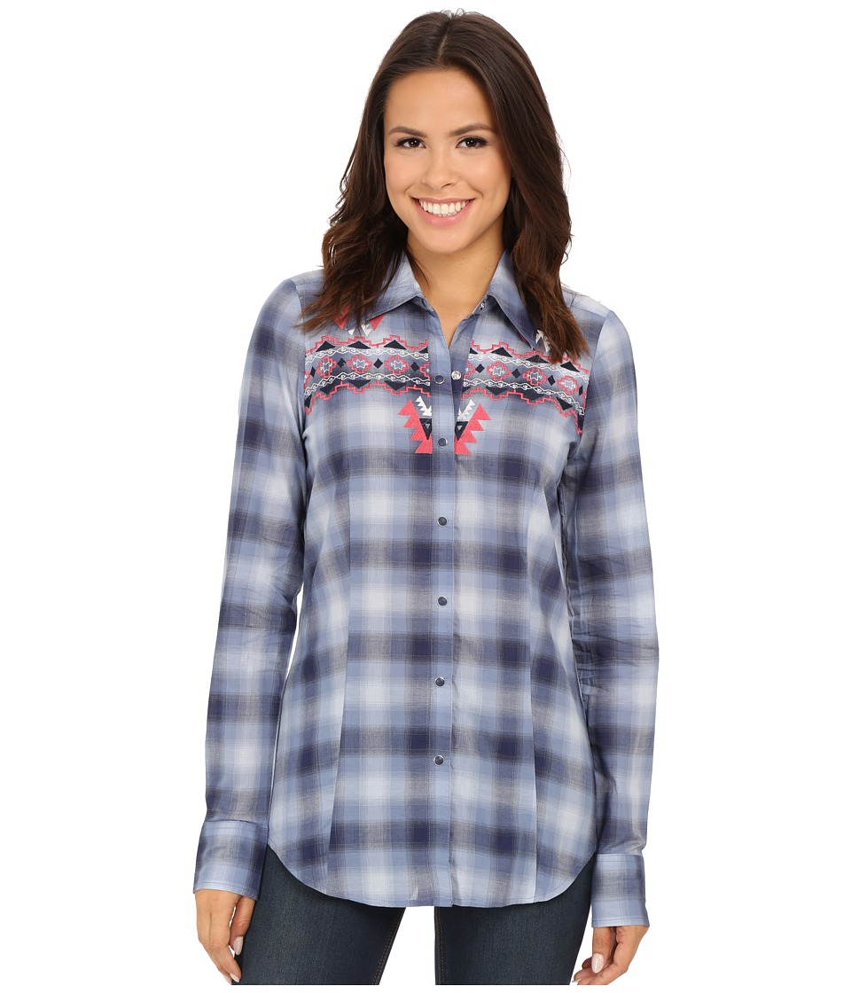 Roper - 9900 Ombre Plaid Shirt (Blue) Women's Clothing