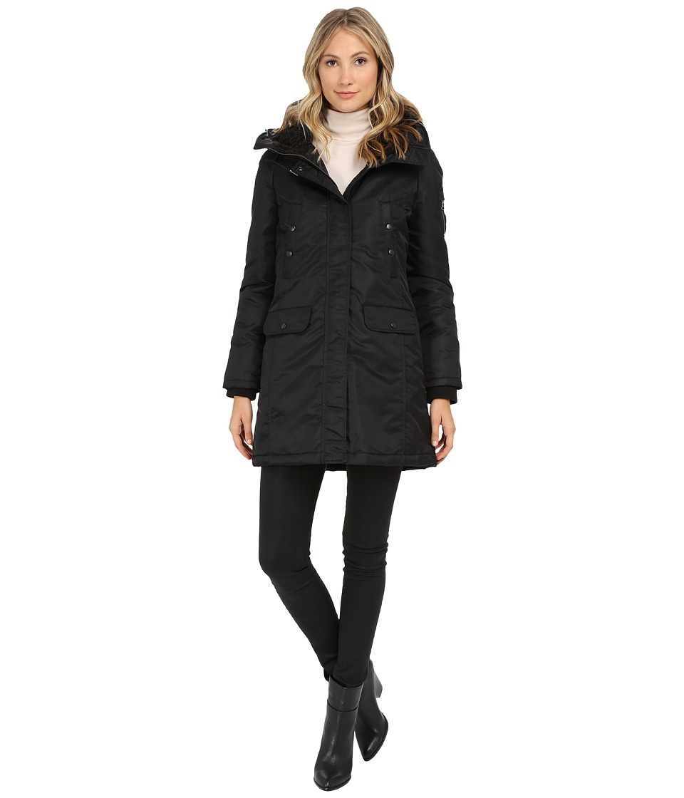 Spiewak - Flight Satin Snorkel Parka No Fur SPFOW0065FFS03 (Caviar/Black) Women's Coat
