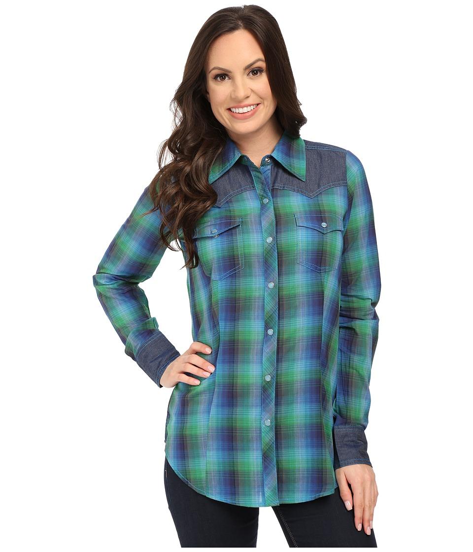 Roper plus size 9900 ombre plaid shirt blue women 39 s for Women s plus size plaid shirts
