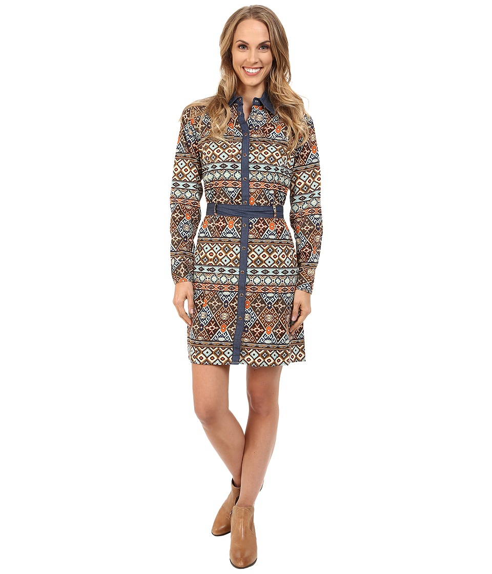 Roper - 9902 Aztec Printed Poplin Shirt Dress (Brown) Women's Dress