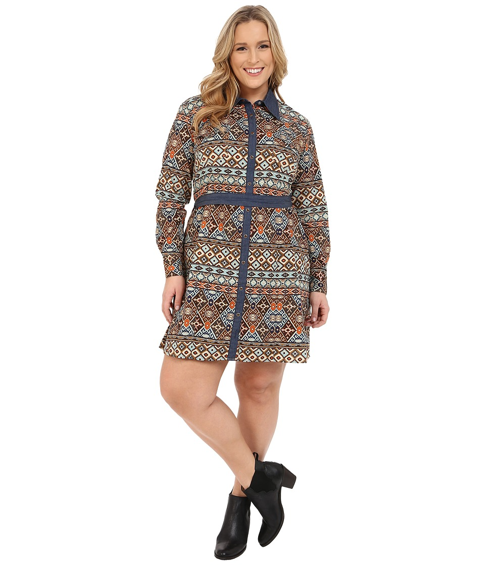 Roper - Plus Size 9902 Aztec Printed Poplin Shirt Dress (Brown) Women's Dress