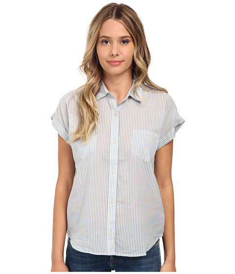 Joe's Jeans - Lightweight Woven Short Sleeve Shirt (Light Blue/White Stripe) Women's Short Sleeve Button Up