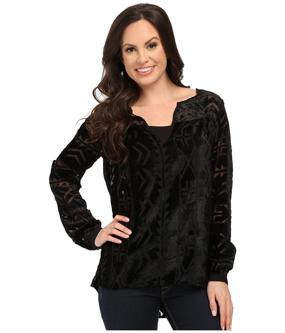Roper - 9908 Burnout Velvet Peasant Blouse (Black) Women's Blouse