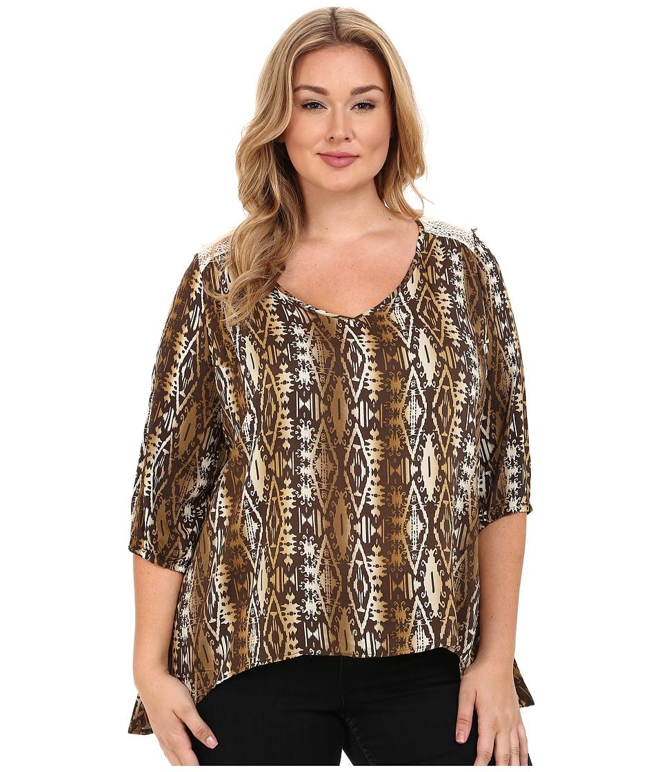 Roper - Plus Size 9907 Aztec Printed Rayon Peasant Blouse (Brown) Women's Blouse