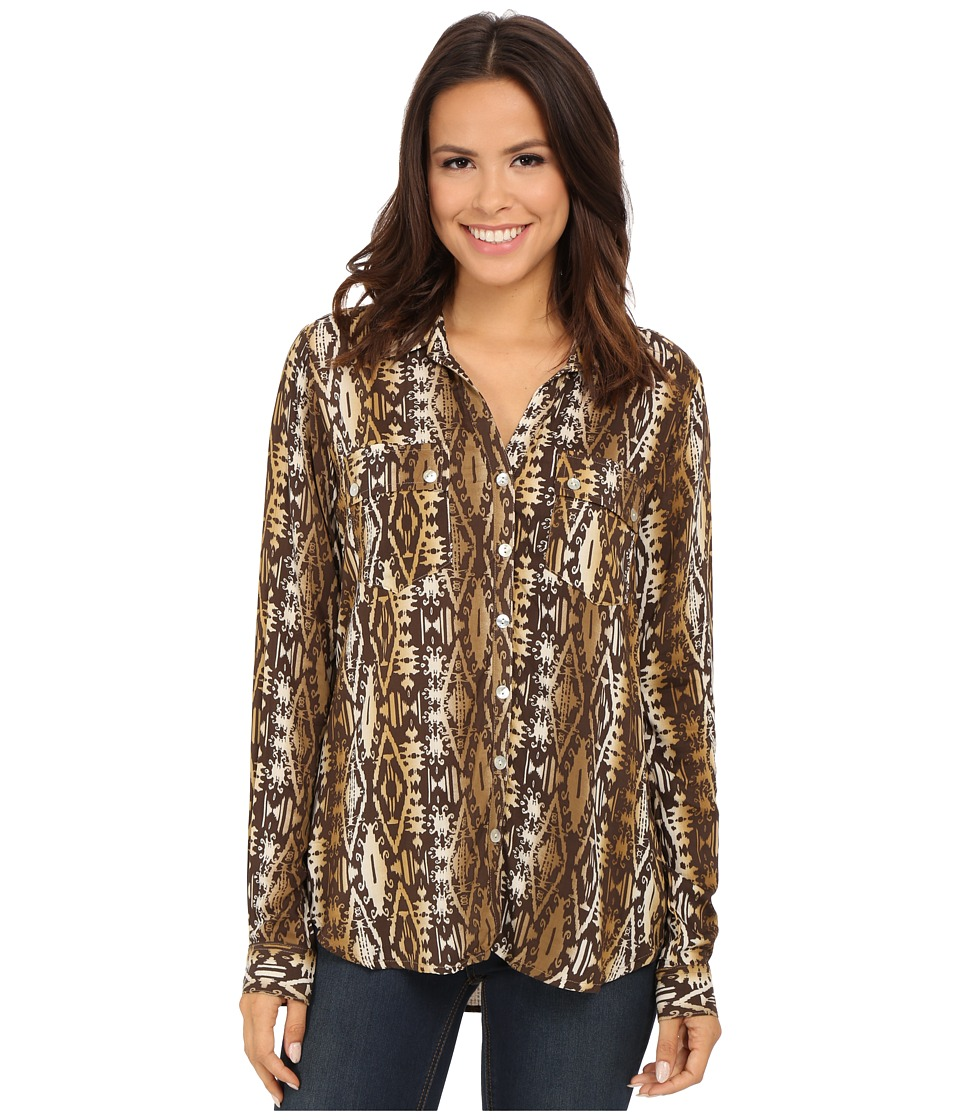 Roper - 9907 Aztec Printed Rayon Blouse (Brown) Women's Blouse