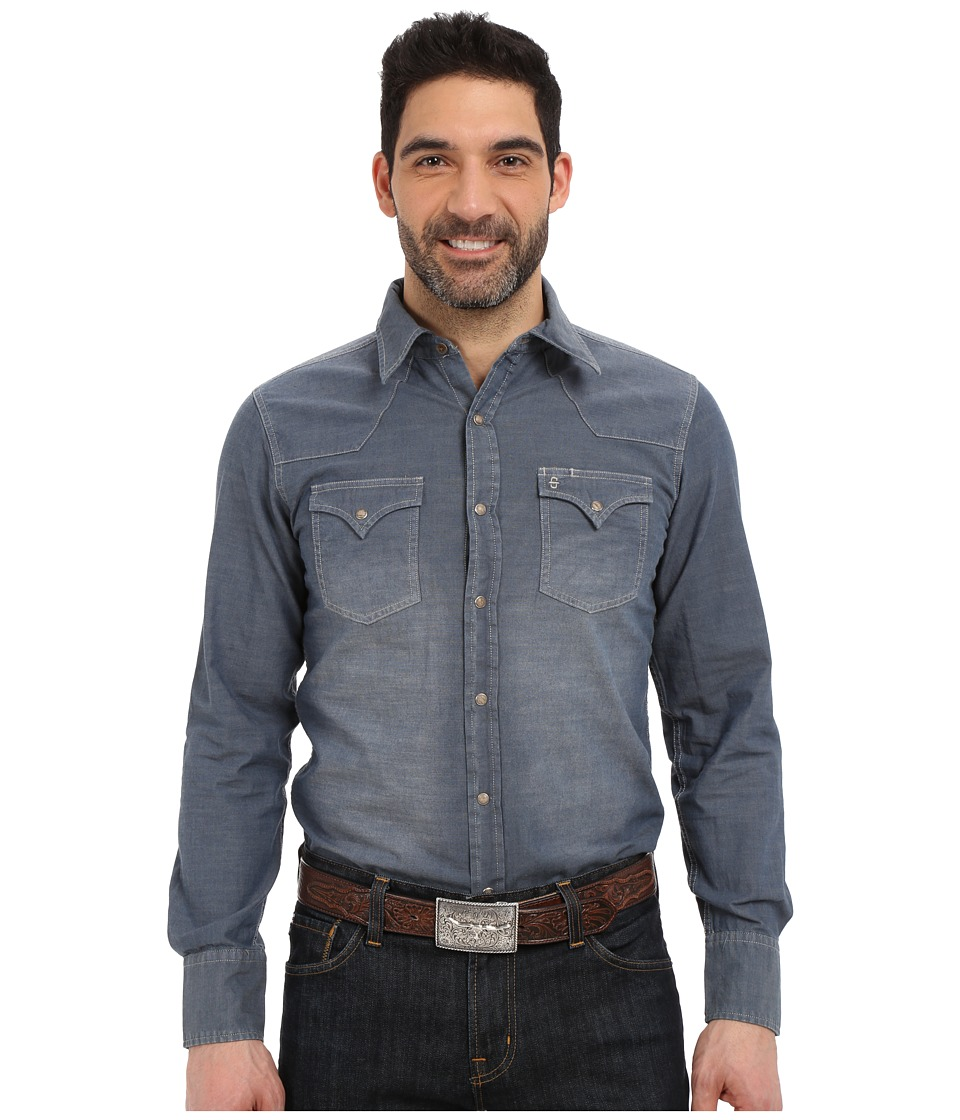 Stetson - Indigo Chambray (Blue) Men's Long Sleeve Button Up