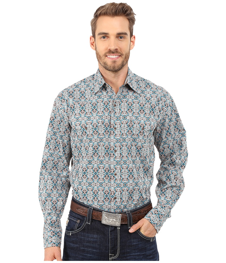 Stetson - Mirror Tile Print (Brown) Men's Long Sleeve Button Up