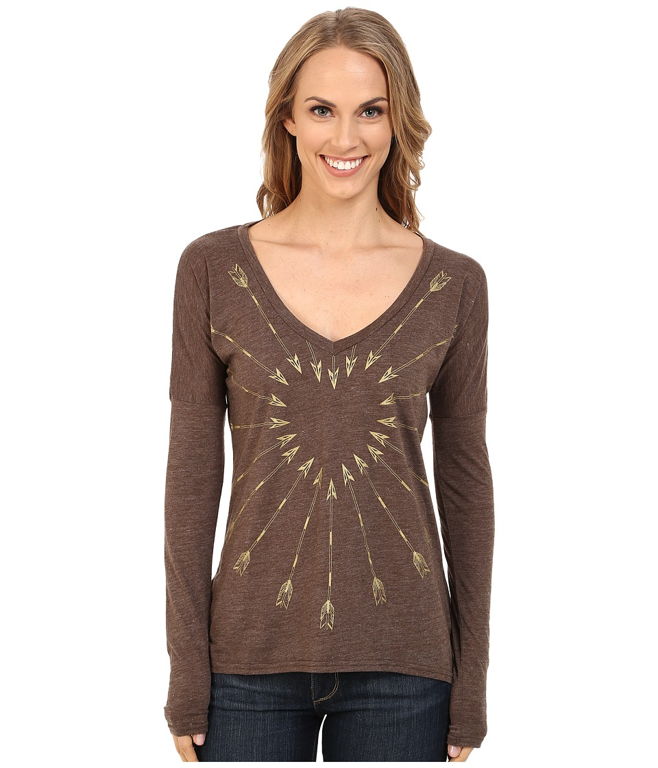 Roper - 9917 Light Weight Heather Jersey V-Neck Tee (Brown) Women's T Shirt