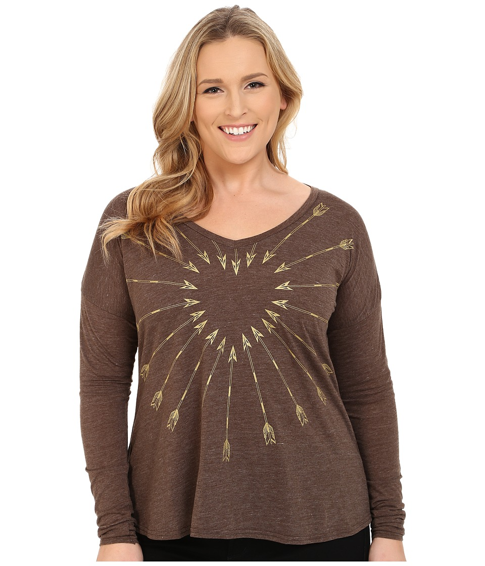 Roper - Plus Size 9917 Light Weight Heather Jersey V-Neck Tee (Brown) Women's T Shirt