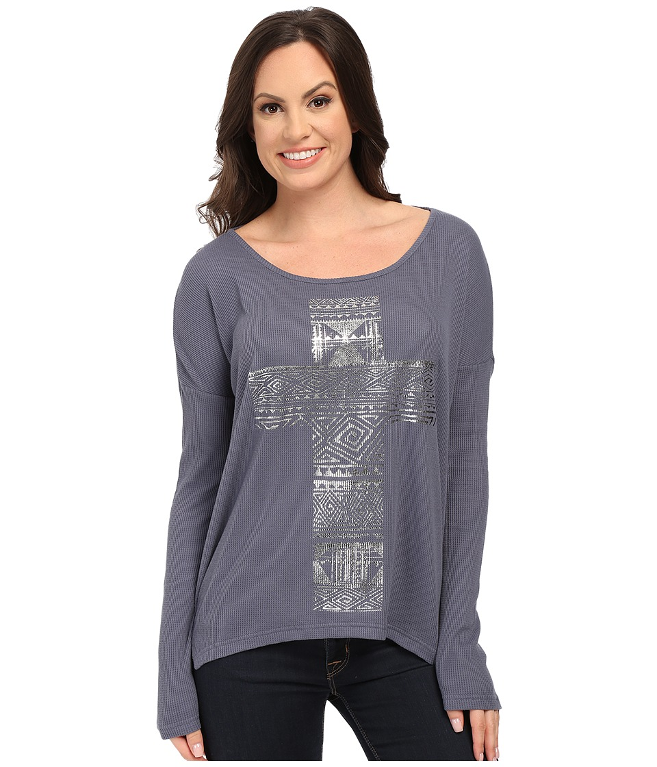 Roper - 9919 Cotton Poly Thermal Knit Top (Grey) Women's Clothing
