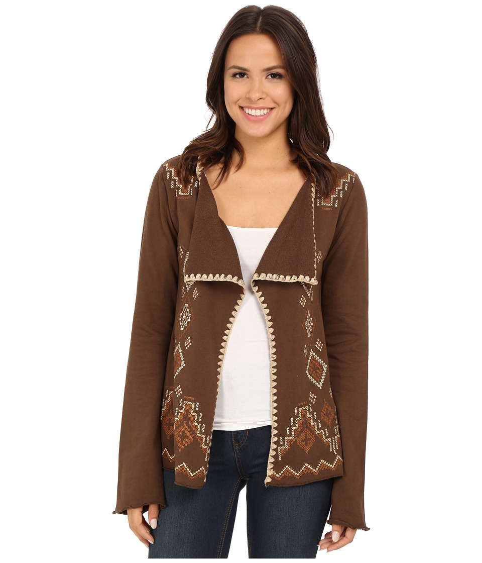 Roper - 9920 Light Weight French Terry Caridagan (Brown) Women's Clothing