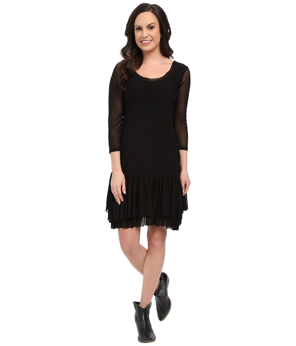 Roper 9922 Solid Stretch Mesh Flounced Dress (Black) Women