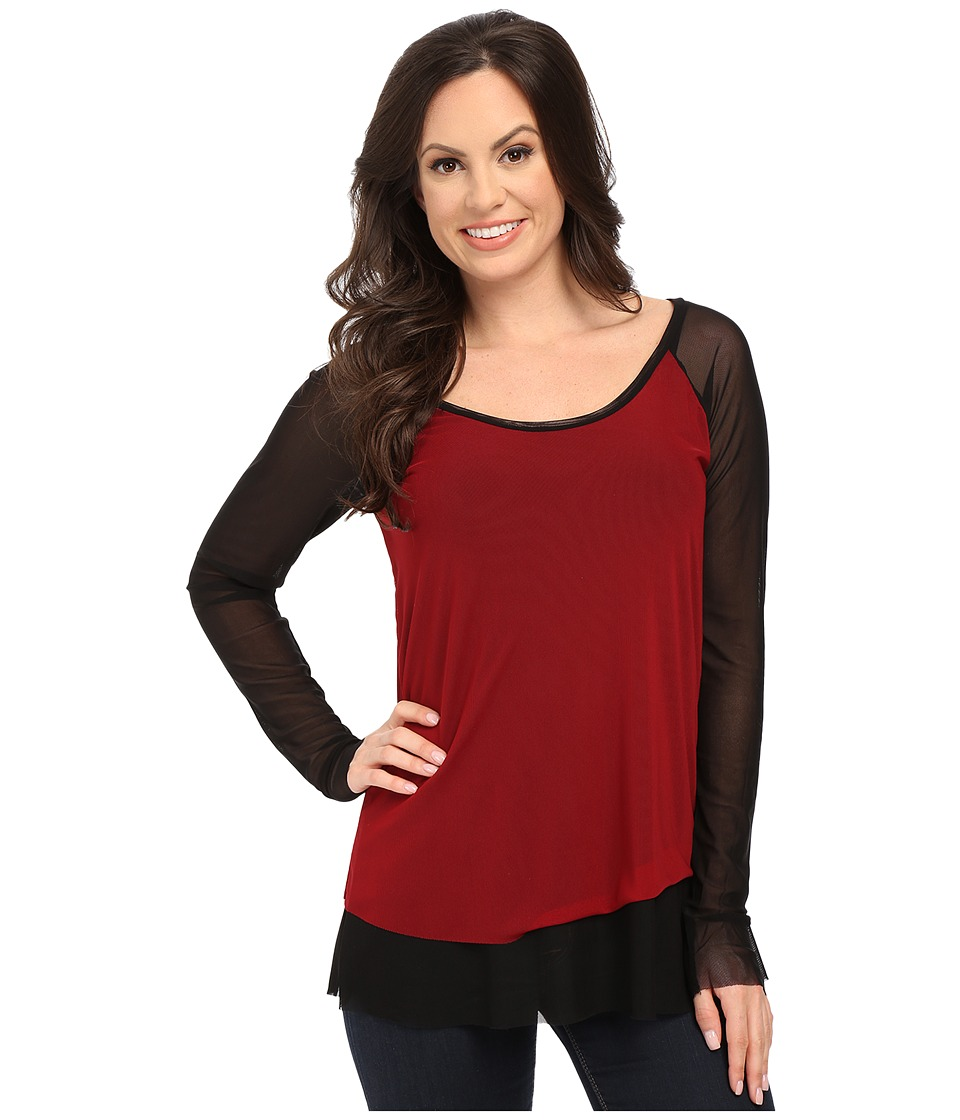 Roper - 9922 Color Blocked Mesh Top (Red) Women's Clothing