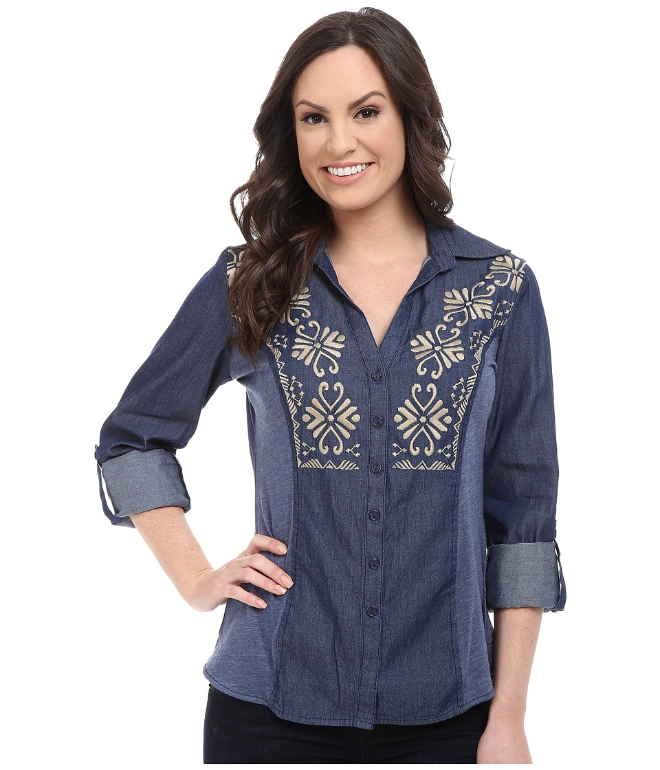 Roper - 9921 5 Oz Indigo Denim Shirt (Blue) Women's T Shirt