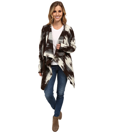 Stetson - Asymetrical Flowing Cardigan (Brown) Women's Sweater