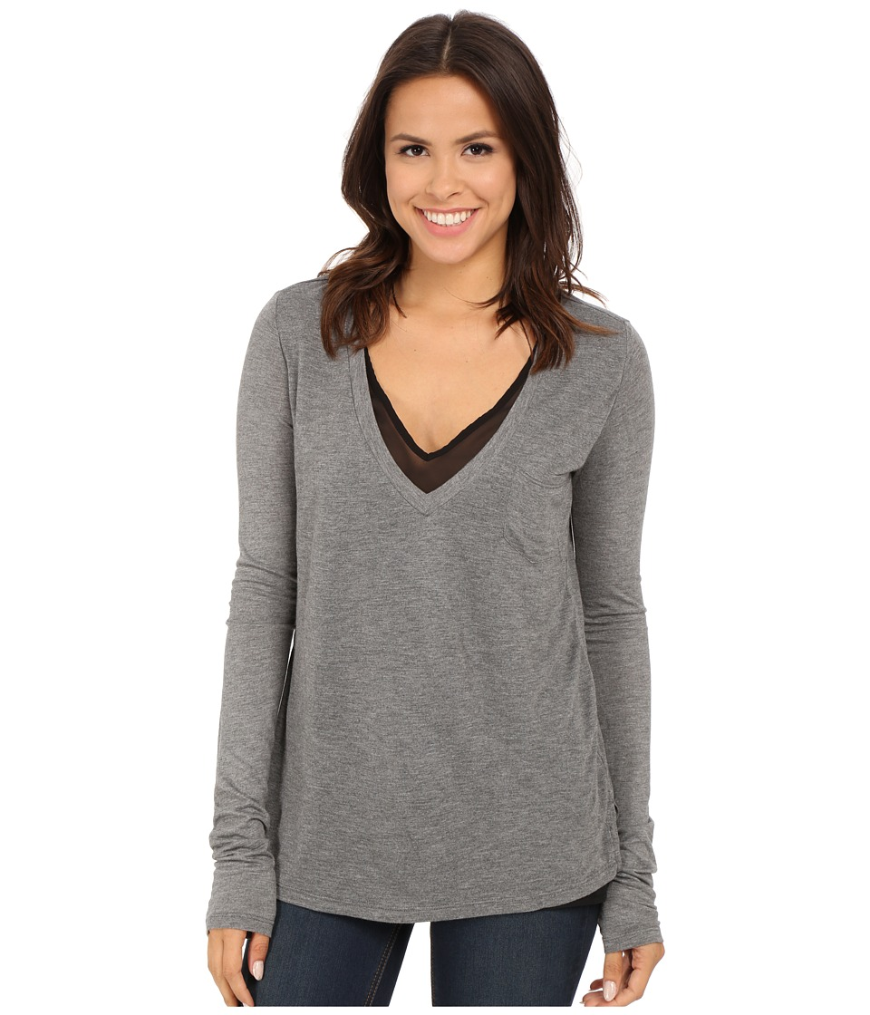 Stetson - Rayon Knit V-Neck Double Layer Tee (Grey) Women's T Shirt