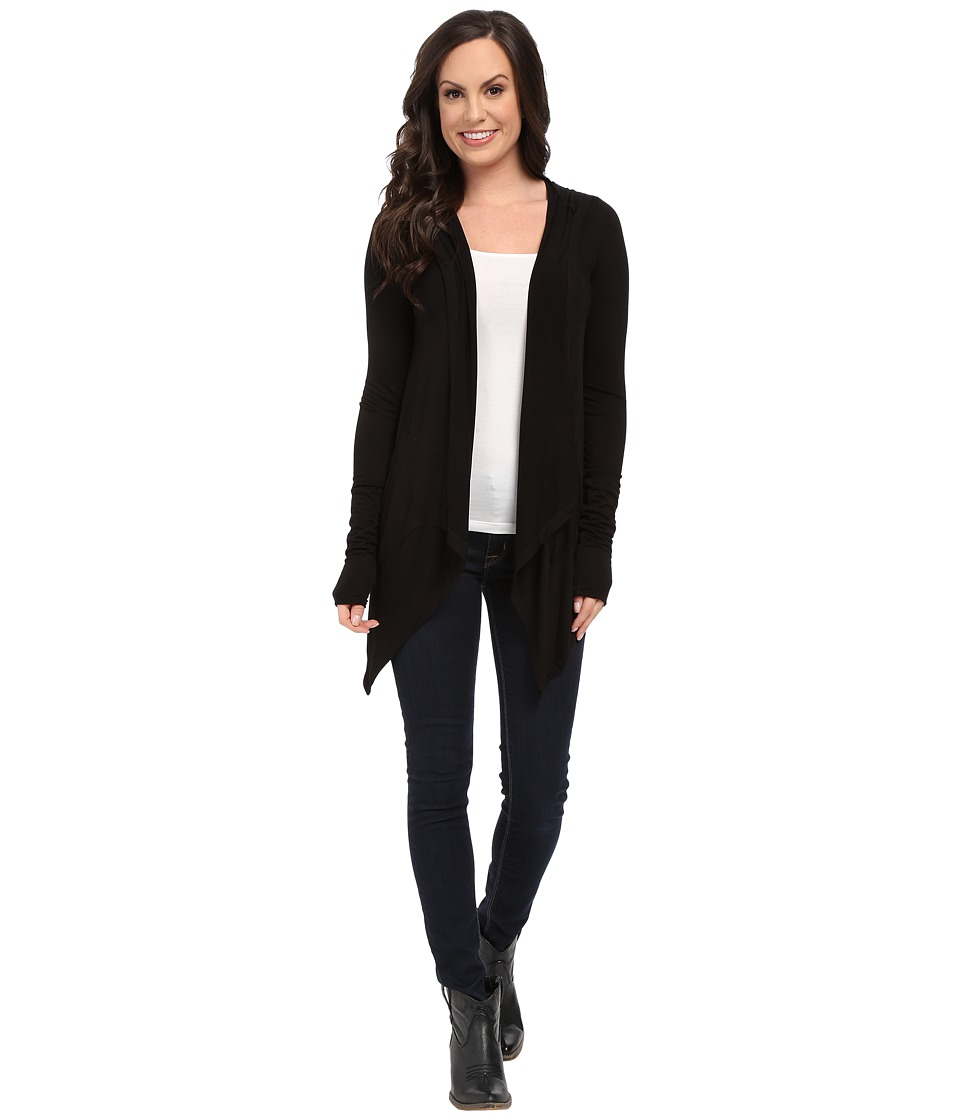 Stetson - Rayon Spandex Hooded Cardigan (Black) Women's Sweater