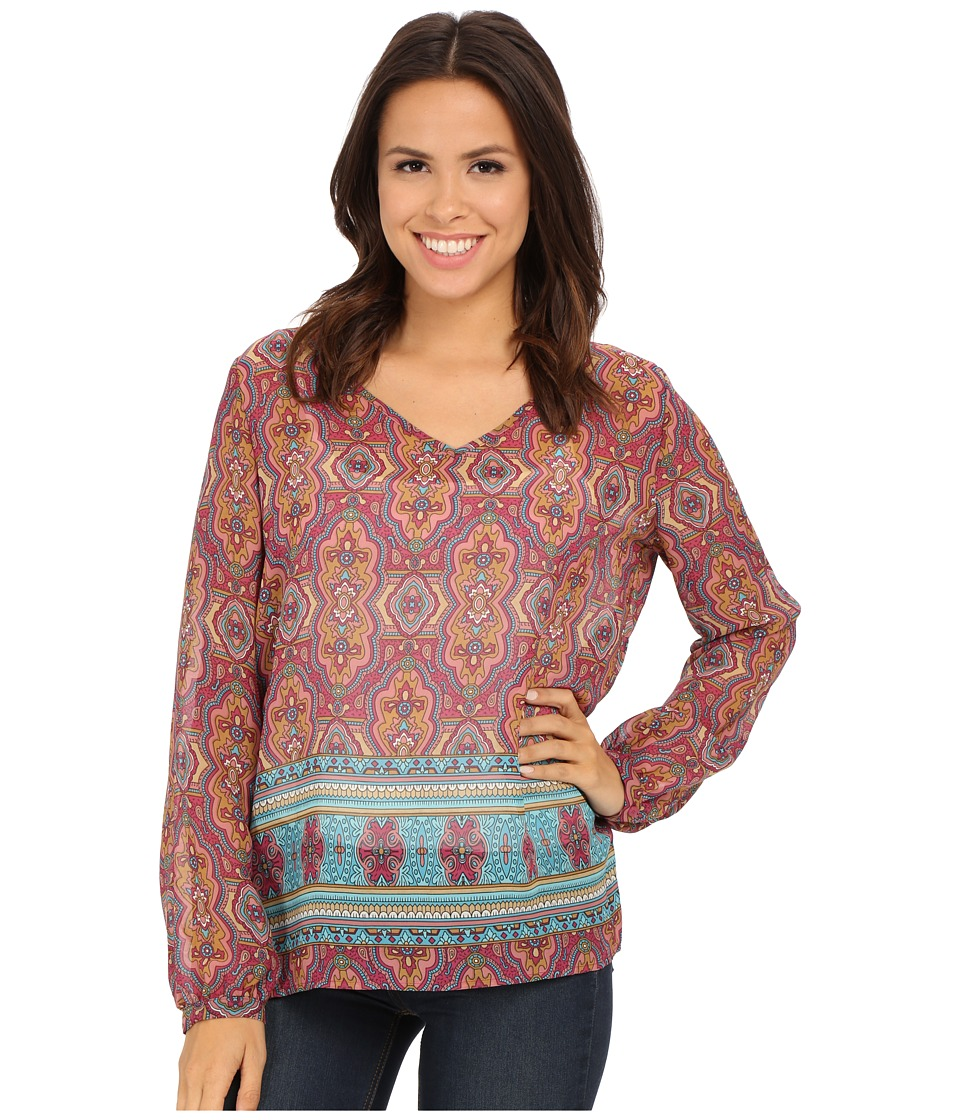 Stetson - Medallion Printed Chiffon Top (Red) Women's Clothing