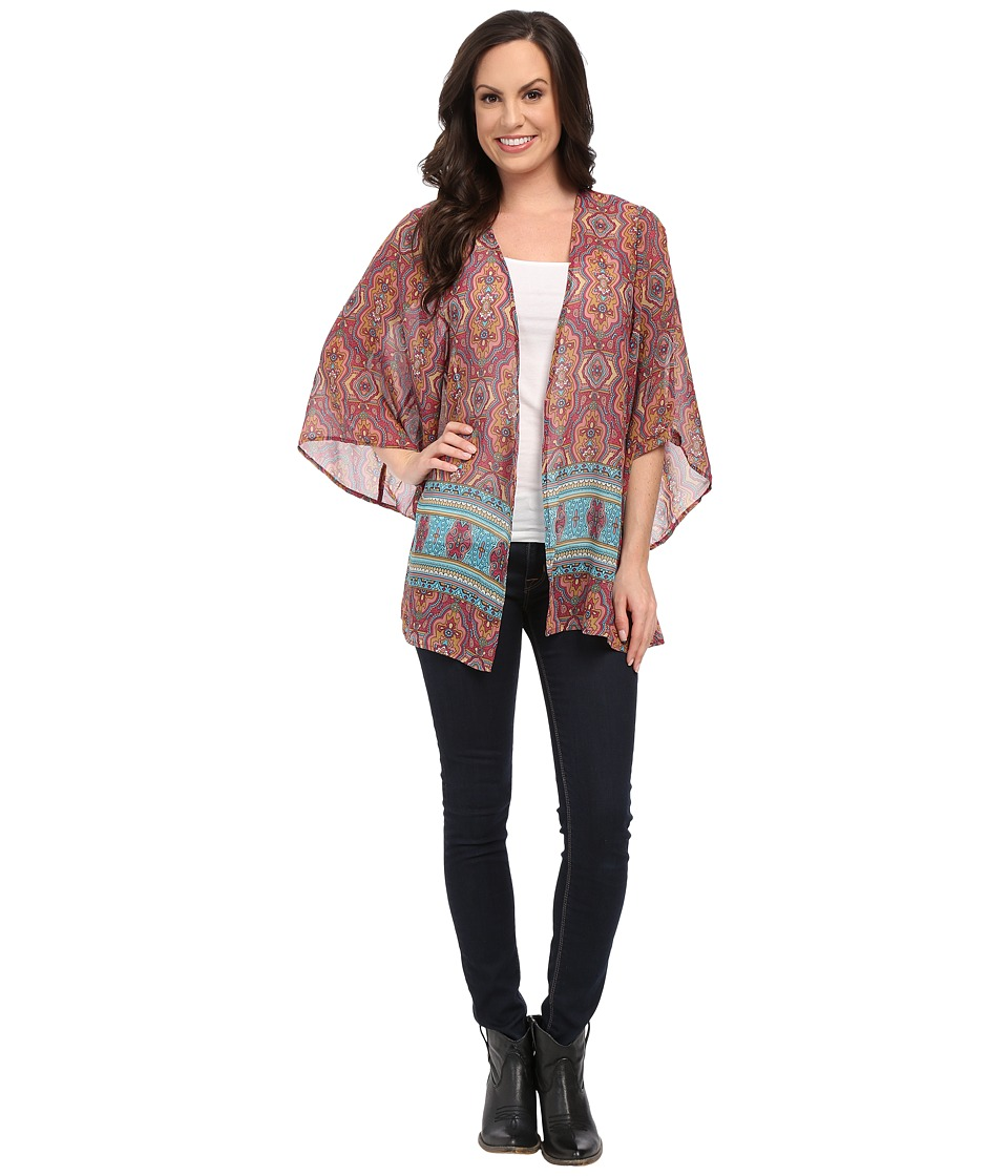 Stetson - Medallion Print Chiffon Cardigan (Red) Women's Blouse