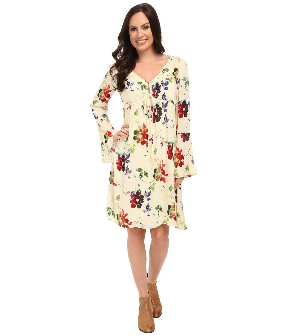 Stetson - Textured Floral Print Rayon Dress (White) Women's Dress