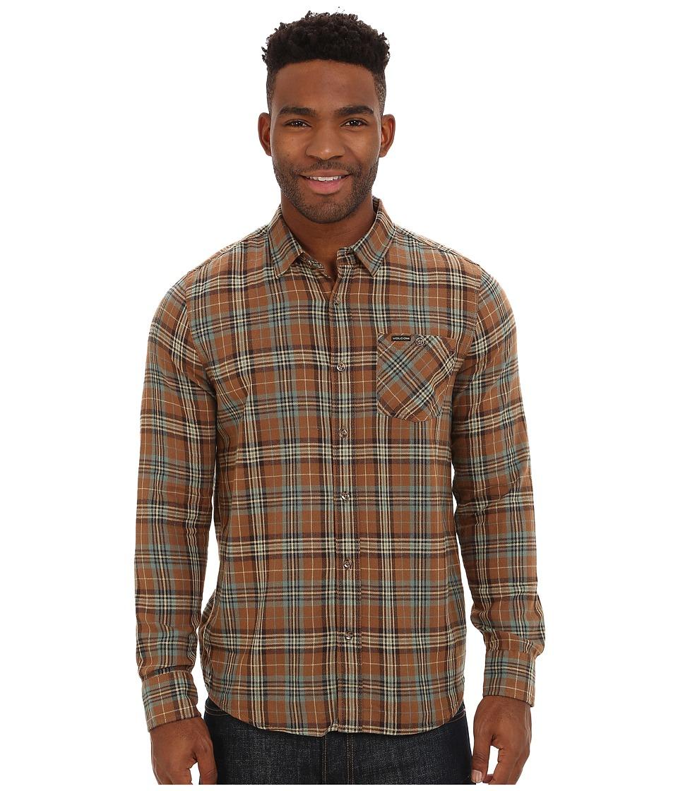 Volcom - Gates Long Sleeve Flannel Top (Mocha) Men