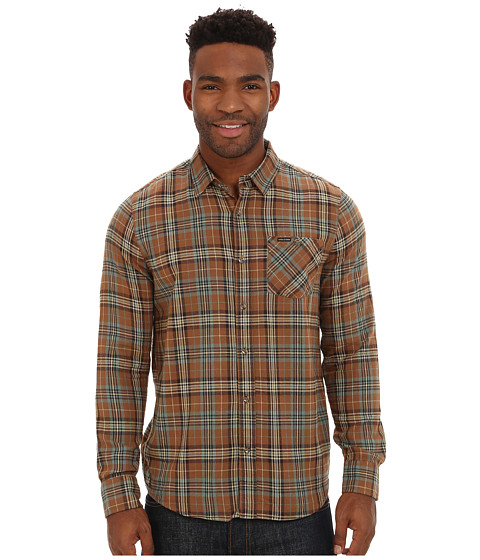 Volcom - Gates Long Sleeve Flannel Top (Mocha) Men