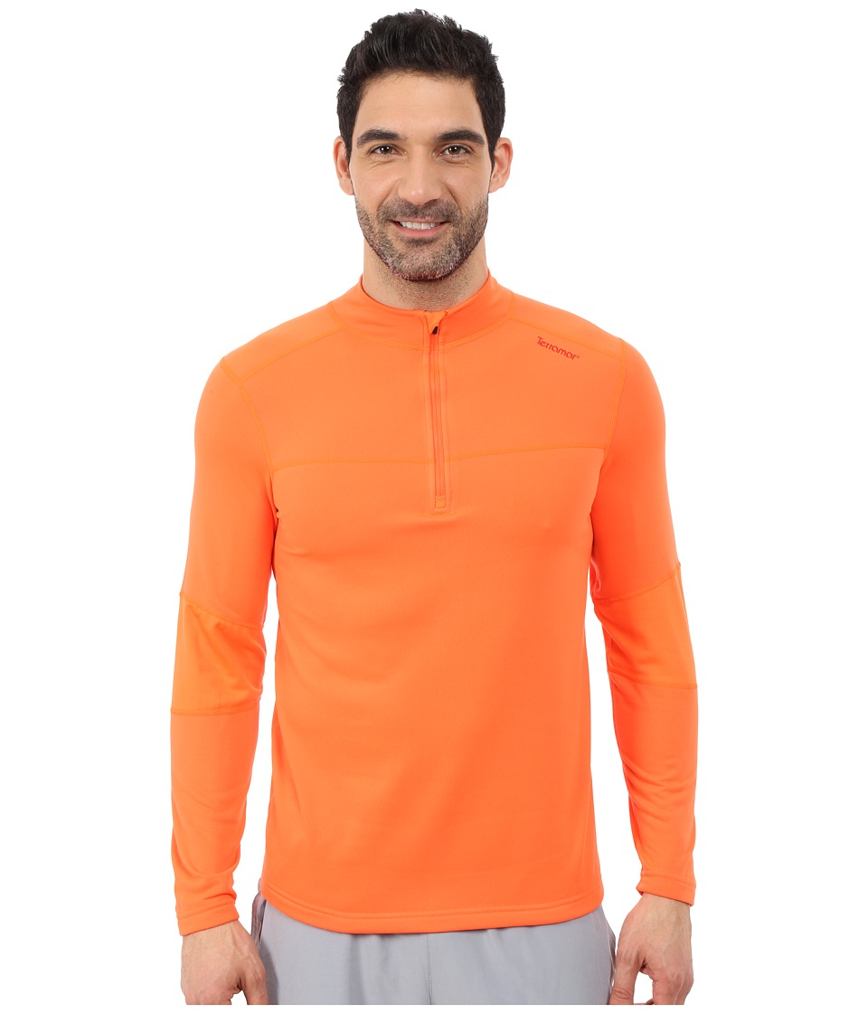 Terramar - 3.0 Tracker Quarter Zip (Blaze Orange) Men's Long Sleeve Pullover