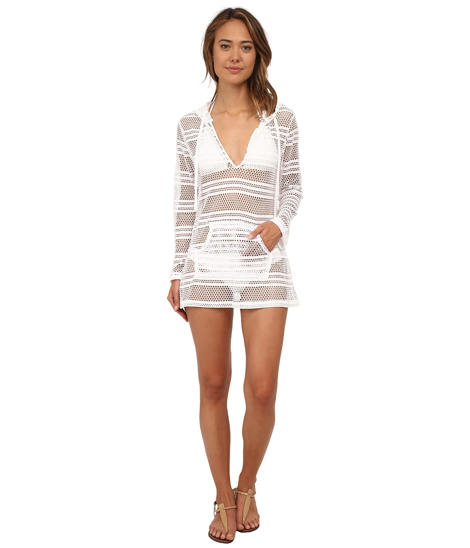 La Blanca - All Caught Up Hoodie Cover-Up (White) Women's Swimwear