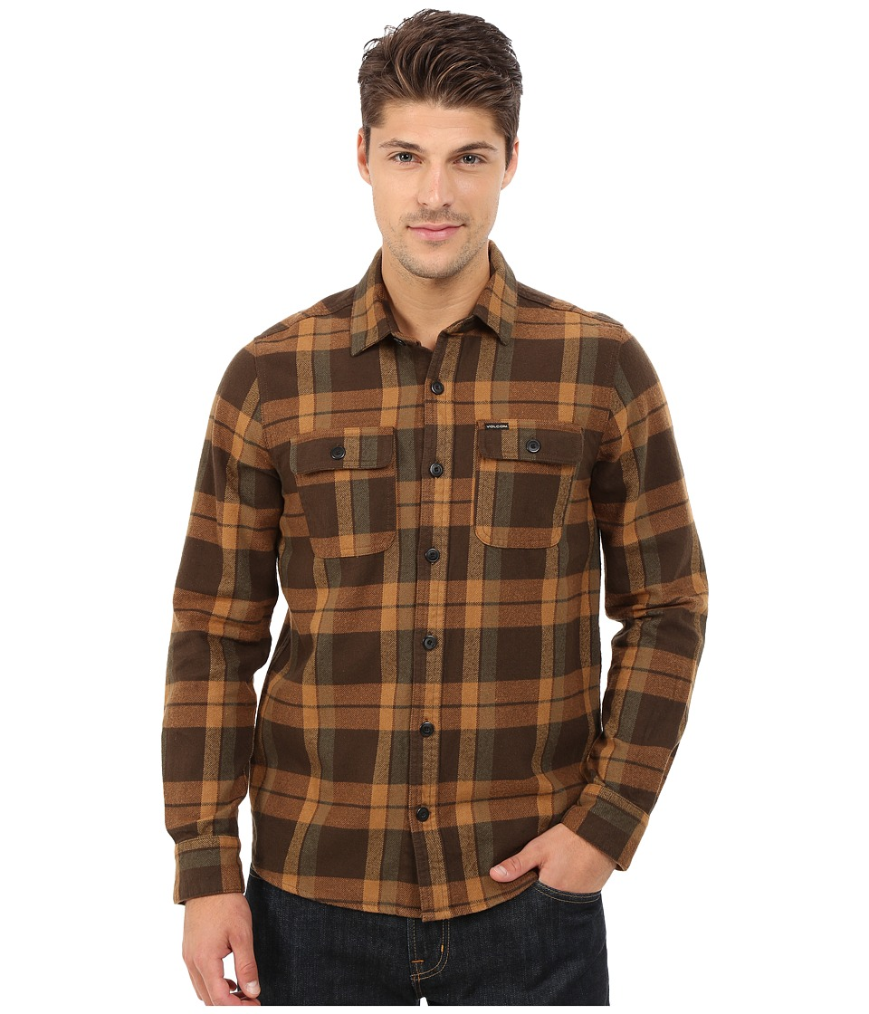 Volcom - Vernon Long Sleeve Shirt (Bark Brown) Men's Long Sleeve Button Up