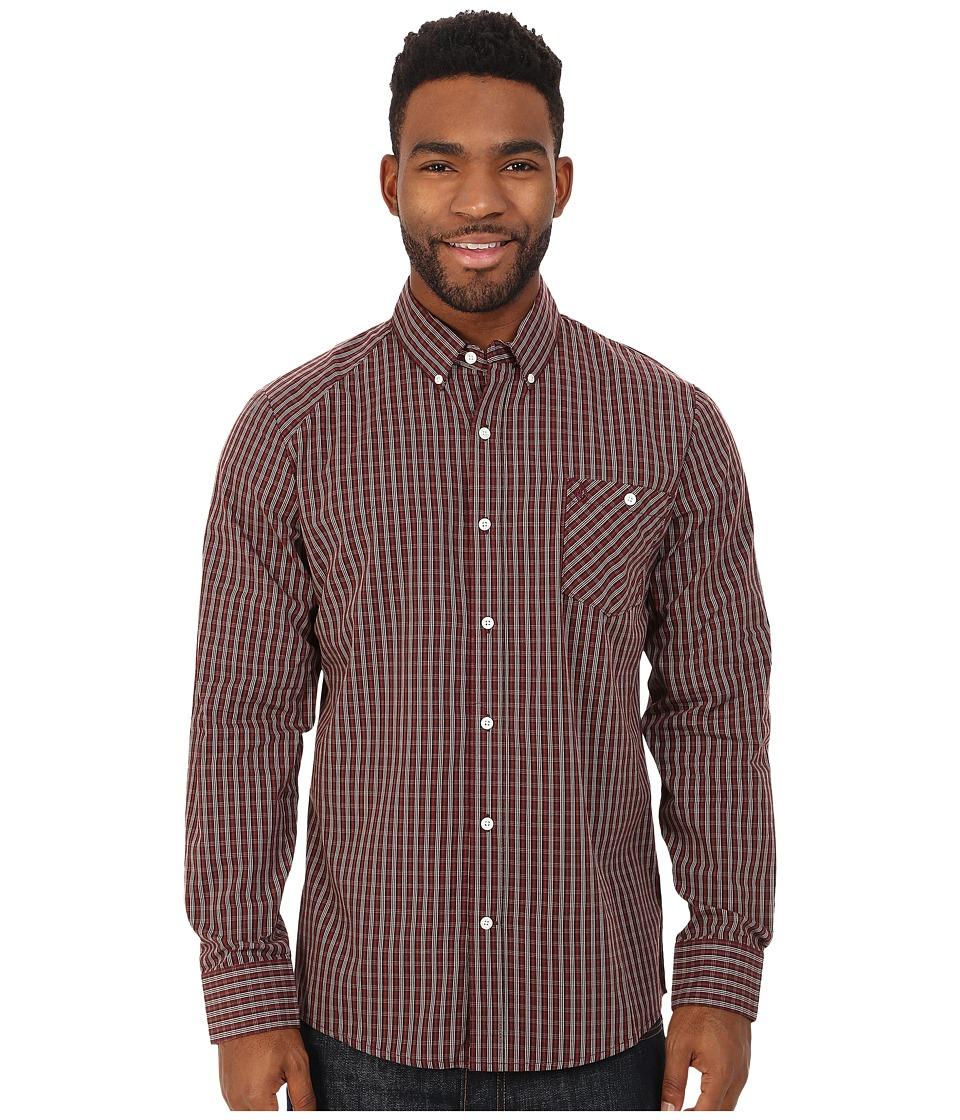 Volcom - Everett Mini Check Long Sleeve Shirt (Cherrywood) Men's Long Sleeve Button Up