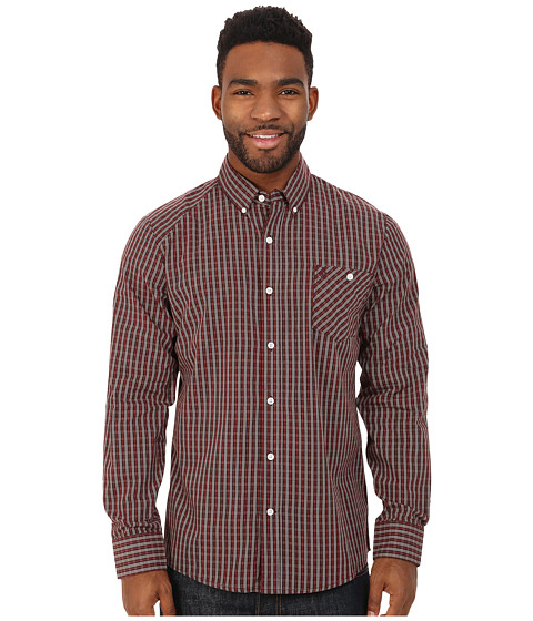 Volcom - Everett Mini Check Long Sleeve Shirt (Cherrywood) Men's Long Sleeve Button Up