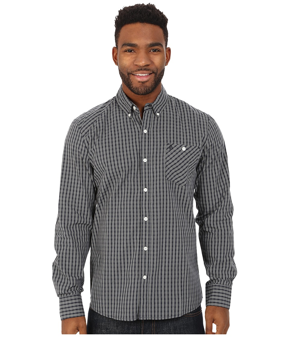 Volcom - Everett Mini Check Long Sleeve Shirt (Navy) Men's Long Sleeve Button Up