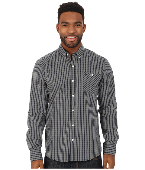 Volcom - Everett Mini Check Long Sleeve Shirt (Navy) Men