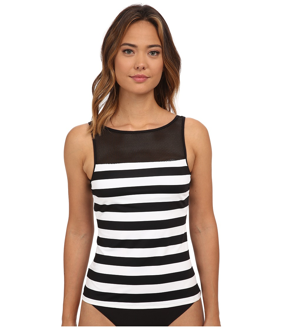 LAUREN Ralph Lauren - Balboa Stripe Boat Neck Tankini Top (Black/White) Women's Swimwear