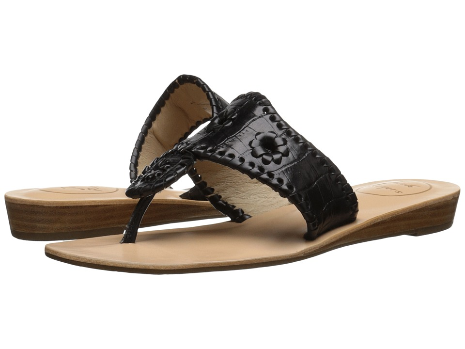 Jack Rogers - Cara Croco (Black) Women's Sandals