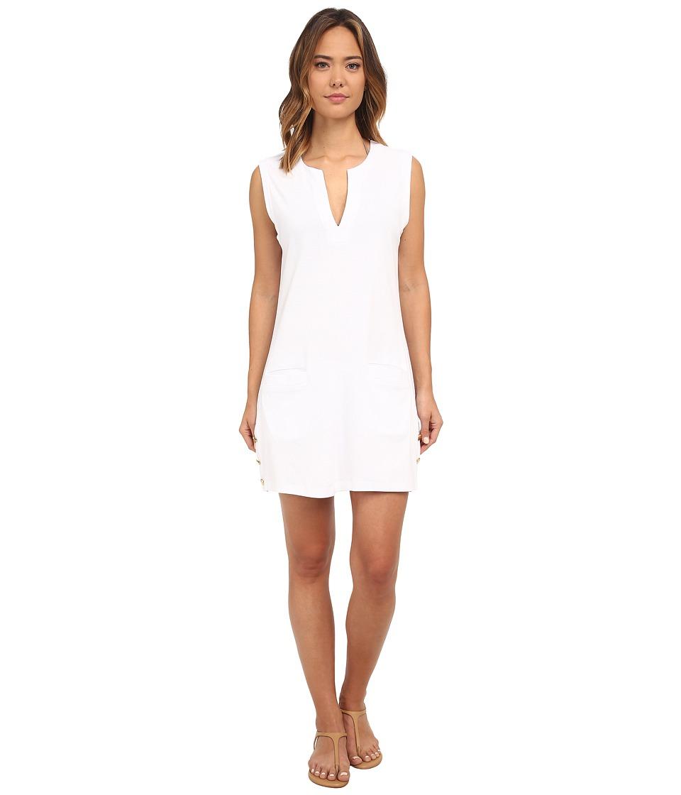 LAUREN Ralph Lauren - Button Solids Sleeveless Buttron Tunic Cover-Up (White) Women's Swimwear