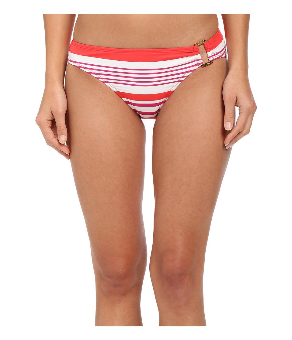 LAUREN Ralph Lauren - Marina Stripe Ring Front Hipster Bottoms (Coral/Pink) Women's Swimwear