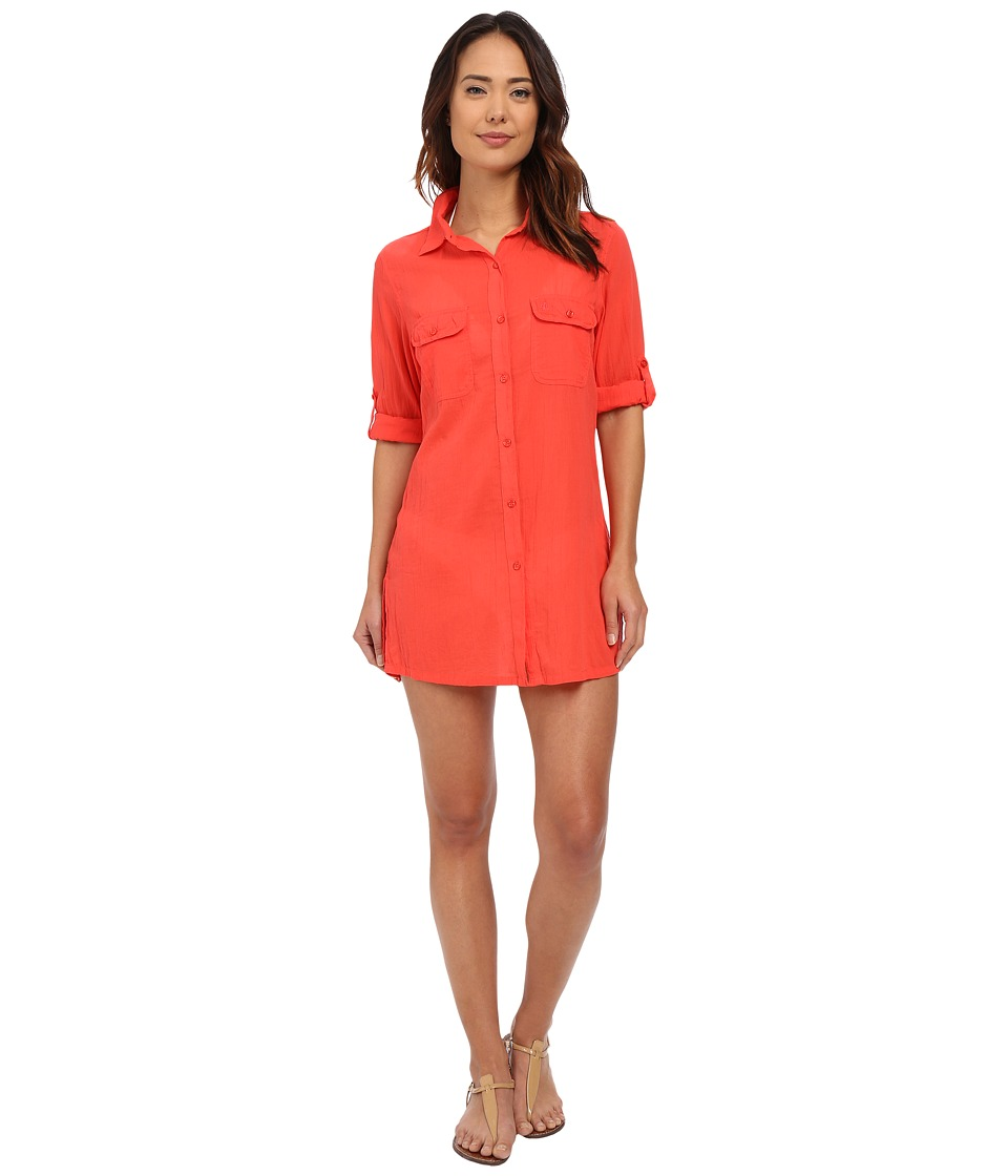 LAUREN Ralph Lauren - Crushed Cotton Camp Shirt Cover-Up (Bright Coral) Women's Swimwear