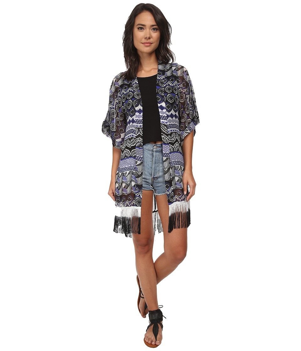 Steve Madden - Aztec Scallop Fringed Topper (Royal) Women