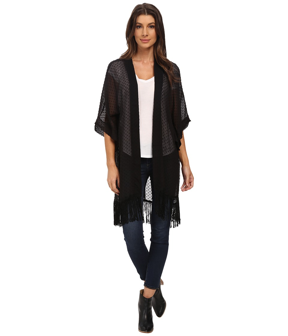 Steve Madden - Swiss Dot Kimono (Black) Women's Clothing