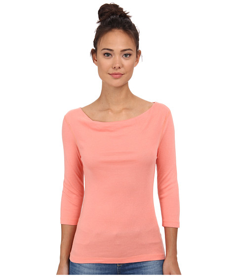 Three Dots - 1x1 Cotton Modal 3/4 Sleeve Cowl Neck (Capri Coral) Women