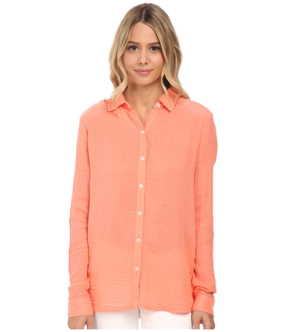 Three Dots - Long Sleeve Shirt (Capri Coral) Women's Long Sleeve Button Up