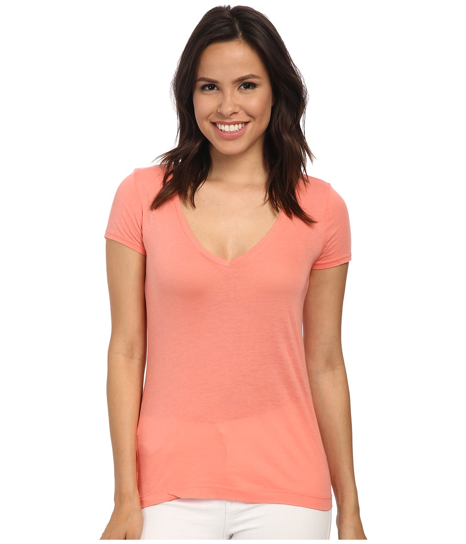 Three Dots - Jersey Colette S/S Deep V-Neck (Capri Coral) Women's T Shirt
