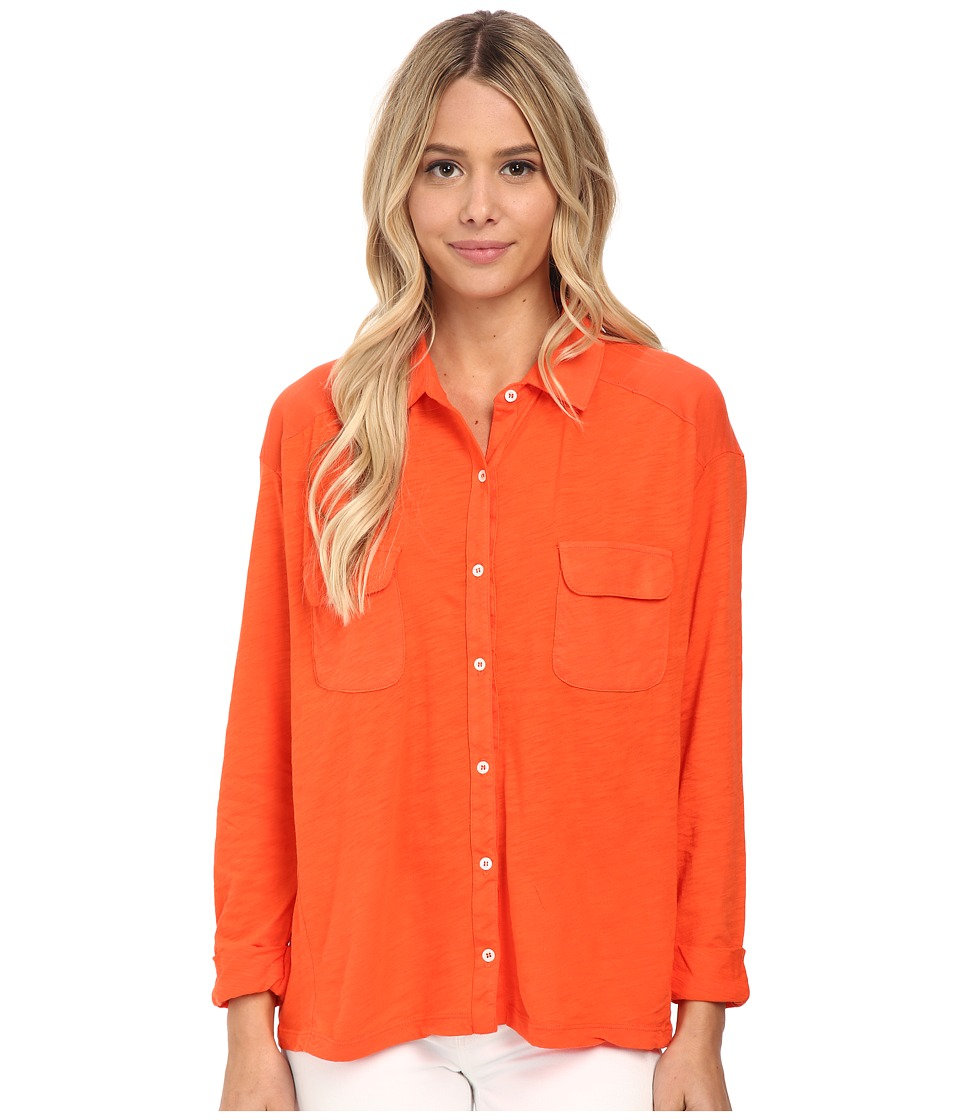Three Dots - Long Sleeve Shirt (Blaze) Women's Clothing
