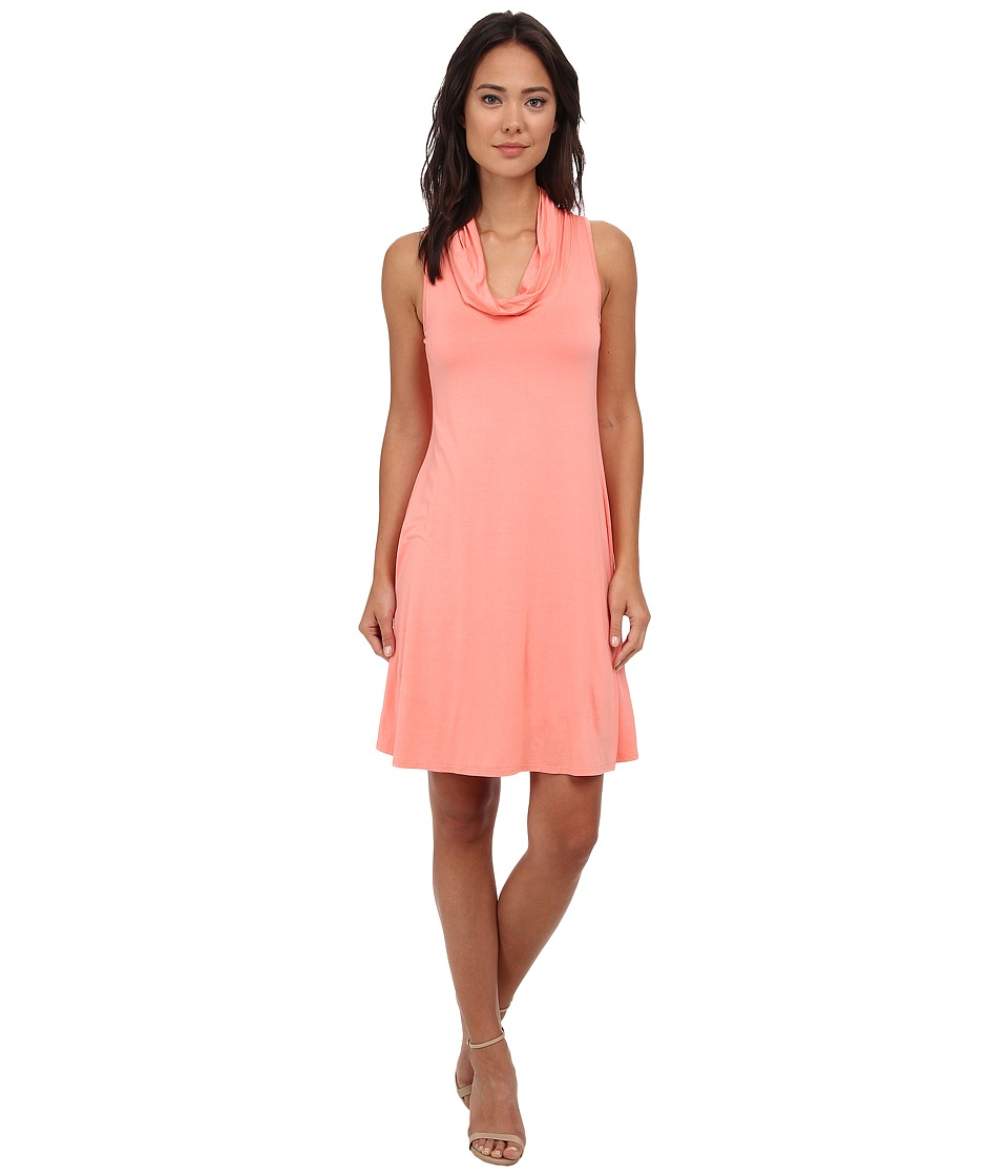 Three Dots Cowl Neck Tank Dress (Capri Coral) Women